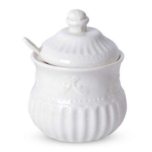 22 Piece Set - Art Deco - Flower Embossed Porcelain Tea Set (Consists of 6 Cups, 6 Saucers, 7 Spoons, 1 Sugar Jar, 1 Milk Jar, 1 Tea Pot)
