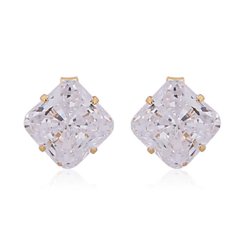 Set of 2 - ELANZA AAAA Special Radiant Cut Simulated Diamond Stud Earrings (with Push Back)  in 14K Gold Overlay Sterling Silver