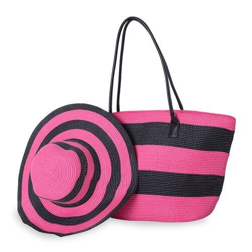 St. Tropez Collection-Fuchsia and Black Colour Stripe Pattern Tote Bag (Size 55x35x31x17 Cm) and Hat