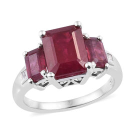 5.28 Ct African Ruby and Diamond 3 Stone Ring in Platinum Plated Sterling Silver