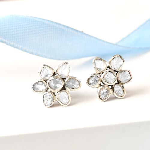 Artisan Crafted Polki Diamond Floral Earrings in Platinum Overlay Sterling Silver