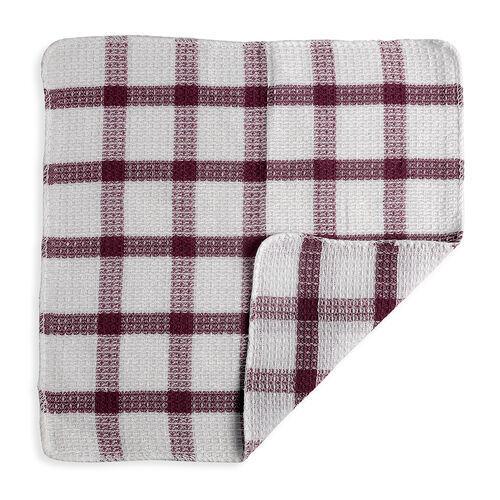 24 Piece Set - Cotton Dish Cloth in Red, Burgundy, Purple, Black and White Colour (Size 32x32 Cm)