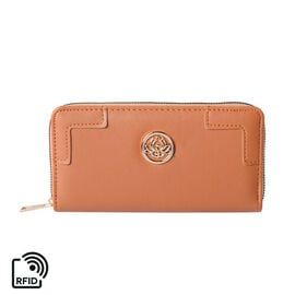 Solid Tan RFID Clutch Wallet (Size 19.5x3x9.5cm) with Zipper Closure in Gold Tone
