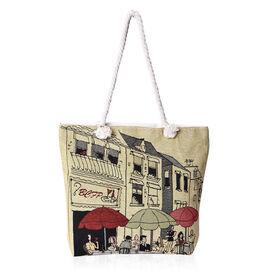 Beige and Multicolour Streetscape Pattern Tote Bag (Size 43x35x11x39 Cm) with Zipper Closure