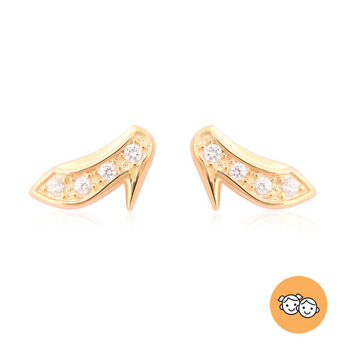 RACHEL GALLEY - Natural Cambodian Zircon Heels Stud Earrings (with Push Back) in Yellow Gold Overlay