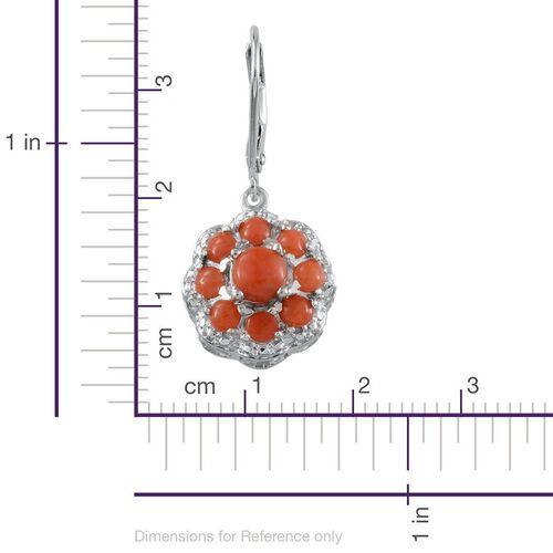 Natural Mediterranean Coral (Rnd) Earrings in Platinum Overlay Sterling Silver 2.250 Ct.