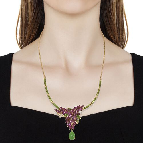 GP Green Jade (Pear), Blue Sapphire, Rhodolite Garnet and Natural Cambodian Zircon Enameled Floral Necklace (Size 18) in 14K Gold Overlay Sterling Silver 20.000 Ct. Silver wt 19.07 Gms.