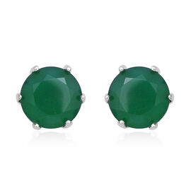 4.80 Ct Verde Onyx Solitaire Stud Earrings in Rhodium Plated Silver