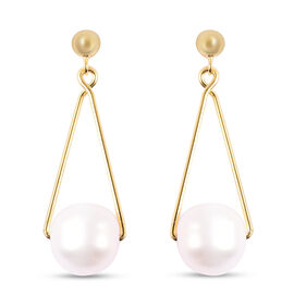 Designer White Freshwater Pearl Dangle Earrings (with Push Back) in Yellow Gold Overlay Sterling Sil