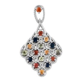 Rainbow Sapphire (Rnd) Pendant in Platinum Overlay Sterling Silver 1.250 Ct.
