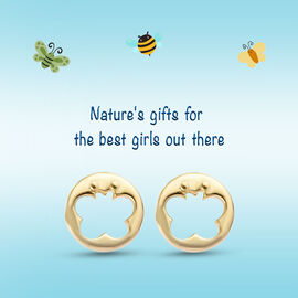 Children Open Butterfly Earrings in Gold Plated Silver