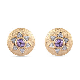 GP Italian Garden Leaf and Flower - Pink Amethyst, Natural Cambodian Zircon and Blue Sapphire Stud E