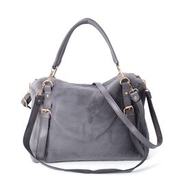Dark Grey Colour Faux Fur Tote Bag with Removable Shoulder Strap (Size 34x27x11 Cm)