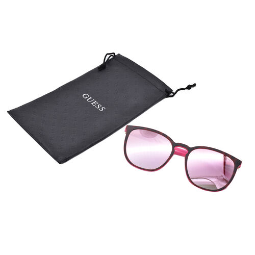 GUESS Matt Pink Retro Sunglasses with Pink Lenses