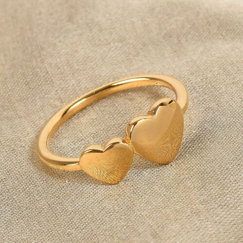 Personalise Engraved Two Heart Initial Ring