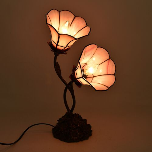 Luxury Edition - Tiffany Style Table Lamp with 2 Mambo Sweet Pink Petunias Stained Glass Shades