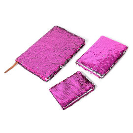 3 Piece Set - Sequin Covered Notebooks (Big Size 21x15x2 Cm), (Medium Size 15x10.5x1.5 Cm), (Small Size 11.5x8x1 Cm) Colour Fuchsia