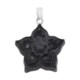 Constituted Elite Shungite Floral Pendant in Sterling Silver 24.54 Ct.