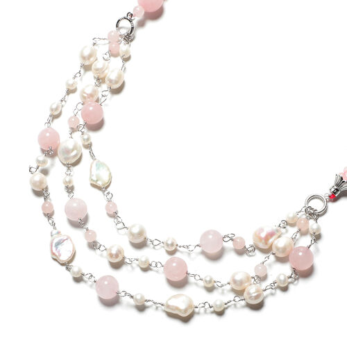 GP- Rose Quartz and Freshwater Pearl Necklace (Size 24 with 3 inch Extender) in Rhodium Overlay Sterling Silver 350.00 Ct.