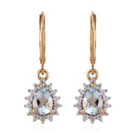 1.50 Ct Espirito Santo Aquamarine and Zircon Halo Drop Earrings in Gold Plated Silver