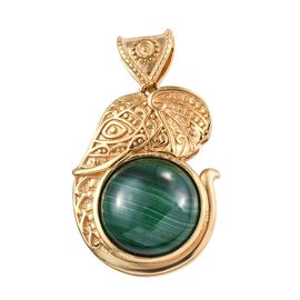 Designer Inspired- Malachite (Rnd 15 mm) Elephant Head Pendant in 18K Yellow Gold Plated 13.75 Ct.