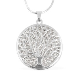 White Austrian Crystal Tree-of-Life Pendant With Chain (Size 29 with 2.5 inch Extender)