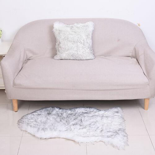 2 Piece Set - Faux Fur Small Carpet (100x60cm) with Cushion (45x45cm-1Pc) - White