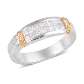 Signature Collection 0.59 Ct Diamond Princess Cut Half Eternity Band Ring in 950 Platinum 6.80 grams