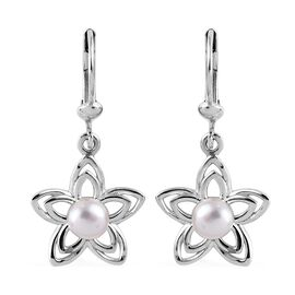 Freshwater Pearl (Rnd) Floral Lever Back Earrings in Platinum Overlay Sterling Silver