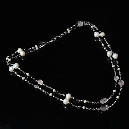 GP - Freshwater Pearl, Morganite and Blue Sapphire Double Strand Necklace (Size 20) in Rhodium Overlay Sterling Silver, Total Carat Wt 50 Cts