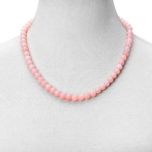 Natural Peruvian Pink Opal Beads Necklace Size 20 with Magnetic Clasp in Rhodium Plated Sterling Silver 170 Ct.