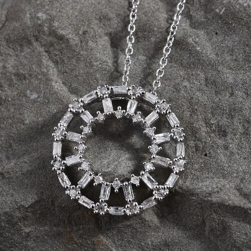 Diamond (Bgt) Circle of Life Pendant With Chain (Size 20) in Platinum Overlay Sterling Silver 0.330 Ct.