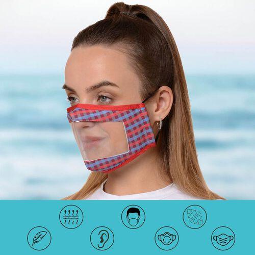 Multi Colour Transparent Face Mask (Size 14x20x29 Cm) - Purple, Blue and Red