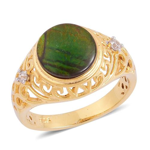 Canadian Ammolite (Rnd 2.40 Ct), White Zircon Ring in Sterling Silver 2.500 Ct.