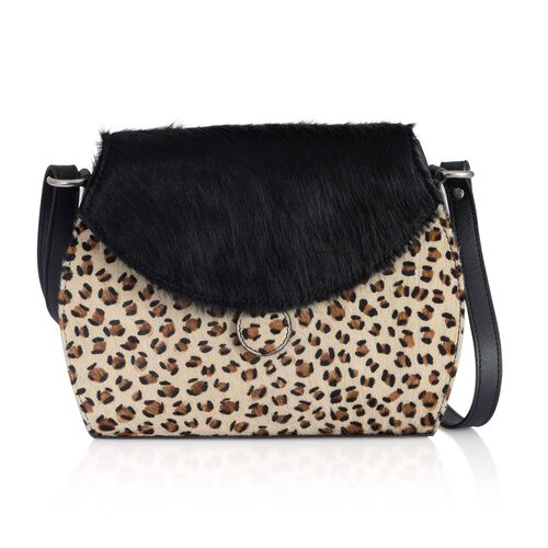 Stella Genuine Leather Leopard Pattern Black and White Colour Shoulder Bag (Size 27x20 Cm)