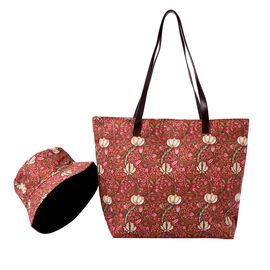 2 Piece Set - Pink and Flower Pattern Tote Bag with Zipper Closure (45x12x35cm) and Matching Hat