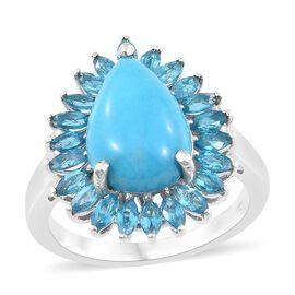 Arizona Sleeping Beauty Turquoise (Pear 4.65 Ct), Malgache Neon Apatite Ring in Platinum Overlay Ste