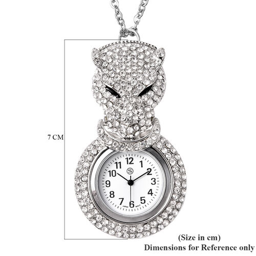 STRADA Japanese Movement White Austrian Crystal Studded Water Resistant Leopard Pocket Watch with Chain (Size 29) in Silver Tone