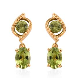 Chinese Peridot (2.10 Ct) 14K Gold Overlay Sterling Silver Earring  2.750  Ct.