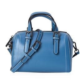 100% Genuine Leather Blue Colour Tote Bag (Size 20x10.5x13 Cm) with Detachable Shoulder Strap (110 C