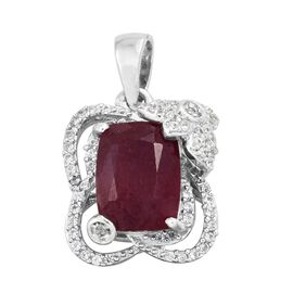 African Ruby (Cush 3.50 Ct), Natural Cambodian Zircon Pendant in Platinum Overlay Sterling Silver 3.750 Ct.