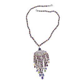 Designer Inspired - African Amethyst, Brazilian Smoky Quartz and Multi Gemstone Necklace (Size 18) i