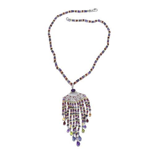 Designer Inspired - African Amethyst, Brazilian Smoky Quartz and Multi Gemstone Necklace (Size 18) in Platinum Overlay Sterling Silver 131.000 Ct. Number of Gemstone 459