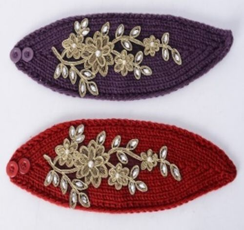 Wine Red and Purple Colour Flower Embroidered White Crystal Hairbands (Size 22.86x16.51 Cm)