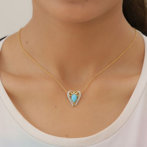 Arizona Sleeping Beauty Turquoise Heart Pendant in Platinum and Yellow Gold Overlay Sterling Silver 1.25 Ct.