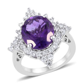 Amethyst and Natural Cambodian Zircon Halo Ring in Platinum Plated Sterling Silver 5.04 Ct