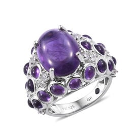GP 10 Ct Amethyst and Cambodian Zircon with Multi Gemstones Floral Ring in Sterling Silver 7.36 Gms