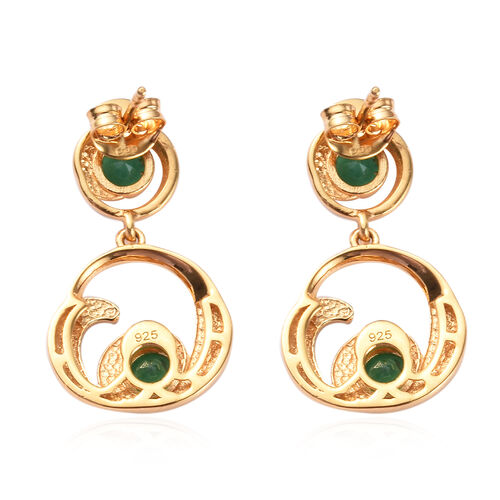 Kagem Zambian Emerald Earrings (with Push Back) in 14K Gold Overlay Sterling Silver 1.00 Ct
