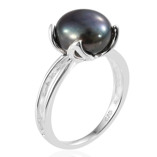 Rare Size Fresh Water Peacock Pearl (Rnd 10 mm) Solitaire Ring in Sterling Silver