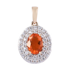 9K Yellow Gold AAA Jalisco Fire Opal (Ovl), Natural Cambodian Zircon  Pendant 1.75 Ct.
